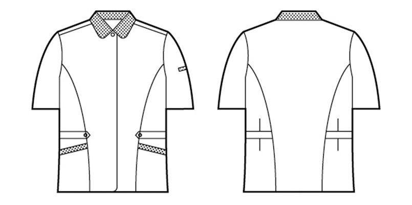 自重堂 45335 [春夏用]製品制電清涼半袖スモック(JIS T8118適合) ハンガーイラスト・線画