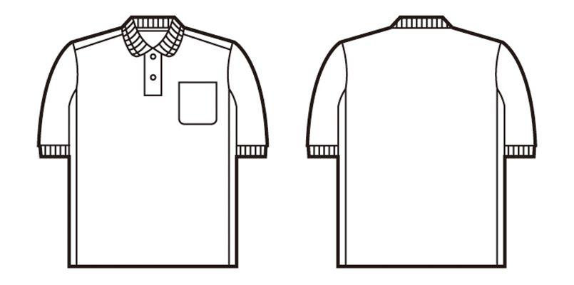 47664 自重堂 吸汗速乾半袖ドライポロシャツ(胸ポケット付き) ハンガーイラスト・線画