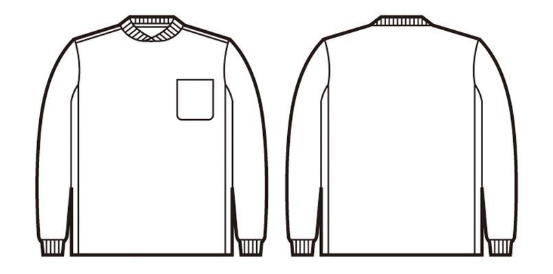 47674 自重堂 吸汗速乾長袖Tシャツ (胸ポケット有り) ハンガーイラスト・線画