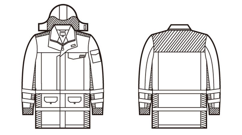 自重堂 48473 高視認性安全服 防水防寒コート(フード付) ハンガーイラスト・線画