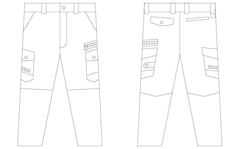 自重堂 56002 [春夏用]JAWIN ノータックカーゴパンツ(新庄モデル) 裾上げNG ハンガーイラスト・線画