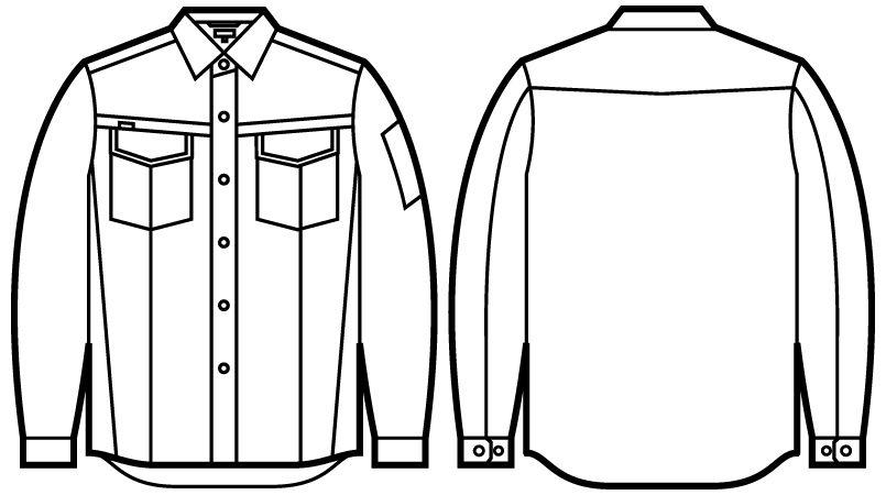 56204 自重堂JAWIN 長袖シャツ(新庄モデル) ハンガーイラスト・線画