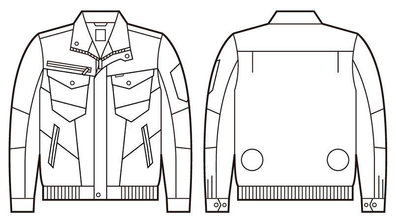 74000 自重堂Z-DRAGON 空調服 綿100% 長袖ブルゾン ハンガーイラスト・線画