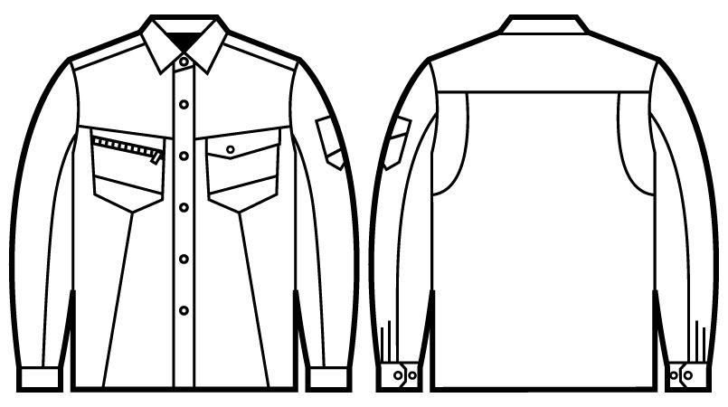 自重堂Z-DRAGON 75304 製品制電長袖シャツ(男女兼用) ハンガーイラスト・線画