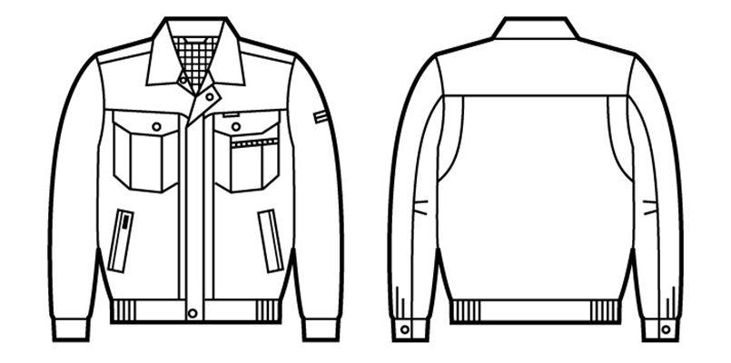 80100 自重堂 エコ 3バリューブルゾン(JIS T8118適合) ハンガーイラスト・線画