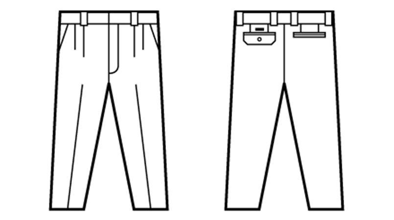 自重堂 80101 エコ 3バリュー ツータックパンツ(JIS T8118適合) ハンガーイラスト・線画