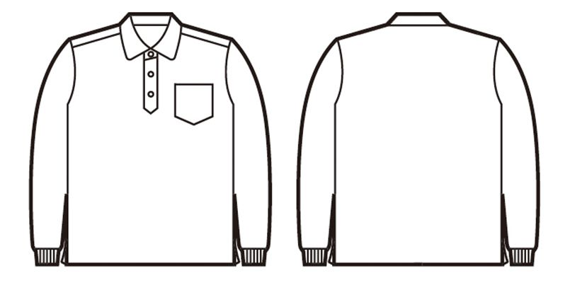 自重堂 85204 フィールドメッセージ  長袖ドライポロシャツ(男女兼用) ハンガーイラスト・線画