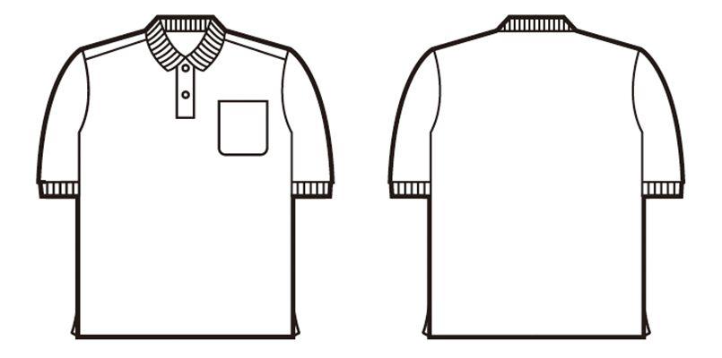 85814 自重堂 半袖ドライポロシャツ(男女兼用)(胸ポケット有り) ハンガーイラスト・線画