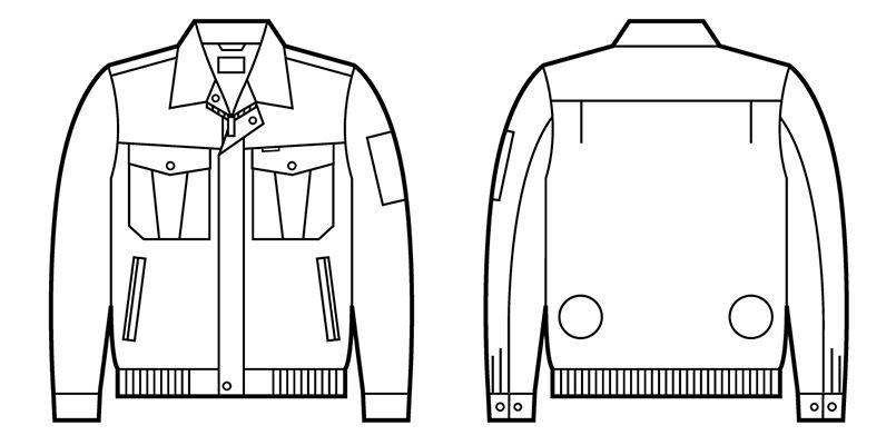 87000 自重堂 空調服 長袖ブルゾン ポリ100% ハンガーイラスト・線画
