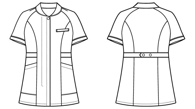 自重堂WHISEL WH10701 チュニック 小さな襟 パイピング(女性用) ハンガーイラスト・線画