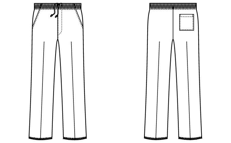 WH11486 自重堂WHISELスクラブパンツ(男女兼用)股下フリー ハンガーイラスト・線画