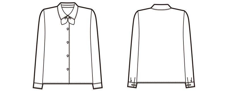 en joie(アンジョア) 01060 光沢のストライプがシャープで華やかな長袖ブラウス(リボン付) ハンガーイラスト・線画