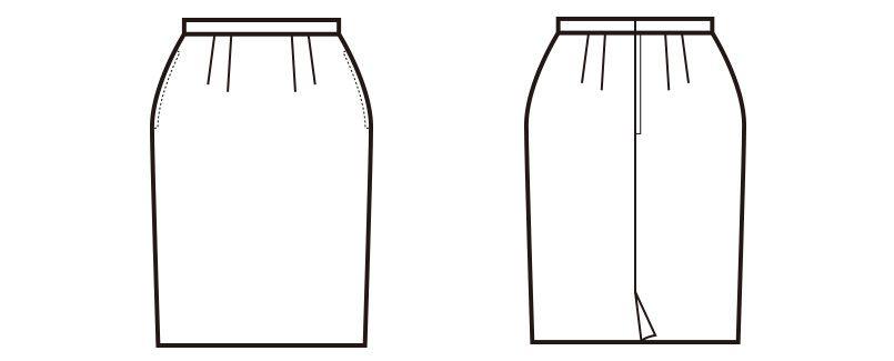 en joie(アンジョア) 51050 控えめなモノトーンがシックな雰囲気でウール混のスカート 無地 ハンガーイラスト・線画