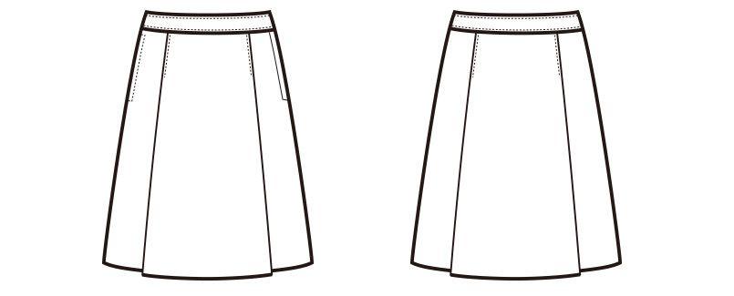 en joie(アンジョア) 51372 [通年]伸縮性があり心地よいフィット感のプリーツスカート 無地 ハンガーイラスト・線画