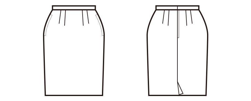en joie(アンジョア) 51620 [通年]柔らかなマットな黒無地のタイトスカート ハンガーイラスト・線画