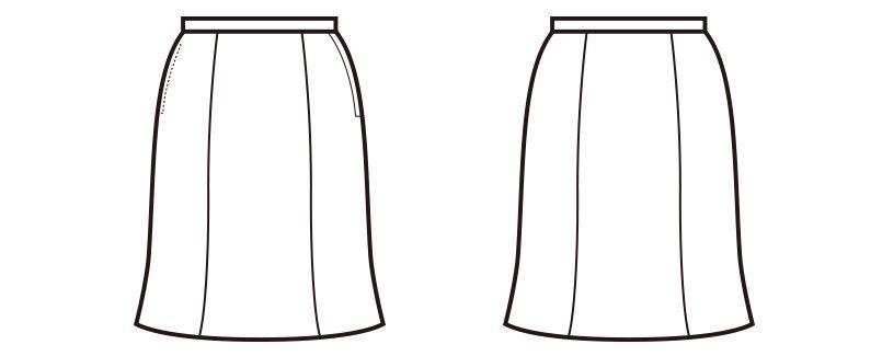 en joie(アンジョア) 51622 [通年]ストレッチで足さばきの良いマーメイドスカート 無地 ハンガーイラスト・線画