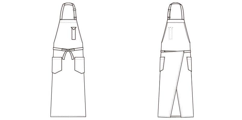 CT2363 セブンユニフォーム 胸当てロングエプロン(男女兼用) ハンガーイラスト・線画