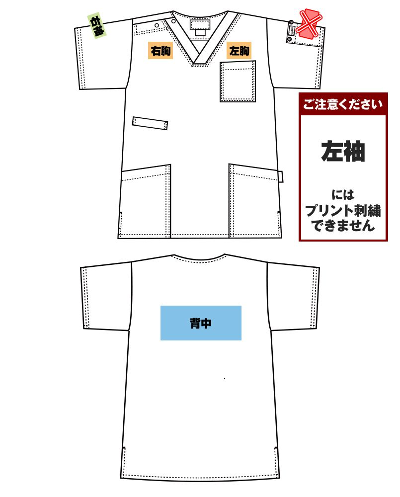7033SC FOLK(フォーク)×Dickies スクラブ(男女兼用) プリントエリア