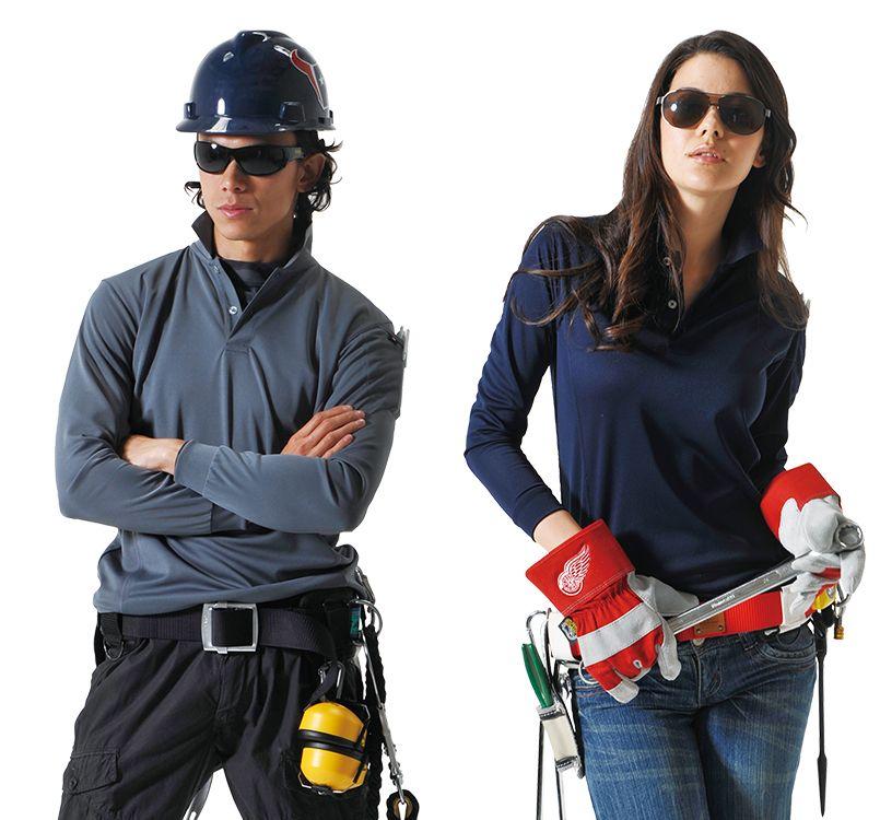 バートル バートル 303 ドライメッシュ長袖ポロシャツ(左袖ポケット付)(男女兼用) 11-303 長袖ポロシャツ モデル着用雰囲気2