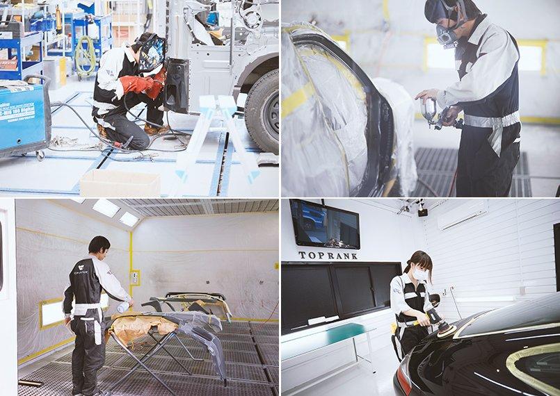修理、塗装、板金、ポリマーなど、専任の技術者が輸入車を日本クオリティで仕上げ